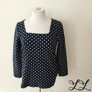 NWT J. Crew Top 3/4 Sleeve T Shirt Navy Blue White